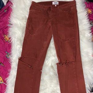 Paige destressed skyline ankle peg jeans size 27